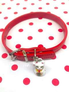 Leather Pu Cat and dog collar - CNY fortune cat