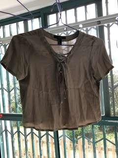Khaki lace up front cropped tee