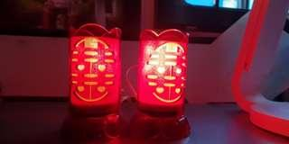 Wedding red bedside lamps