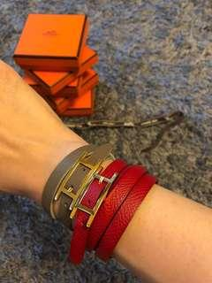 Hermes Hapi Bracelet - ( etoupe and white ) N rouge