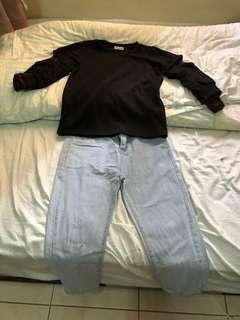 🚚 黑色上衣&牛仔直筒褲