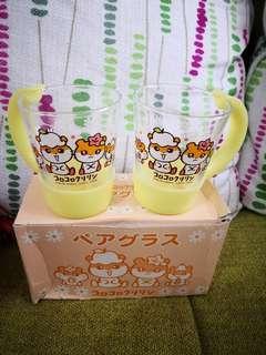 日本sanrio絕版ck鼠corocorokuririn2002年靚靚膠柄玻璃杯1套(罕有)