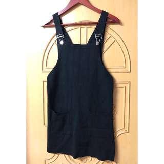 🚚 日系學院風針織吊帶連身裙 黑色雙口袋背後V型中長背心裙 無袖洋裝