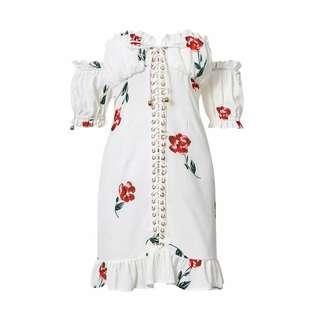 OFF SHOULDER LACE UP FLORAL DRESS