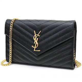 ec1f57c0d005 Auth YSL Large Chain Wallet WOC Black + Gold Hardware Caviar Leather Sling  Bag