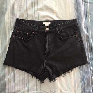 H&M Black Denim Distressed Shorts