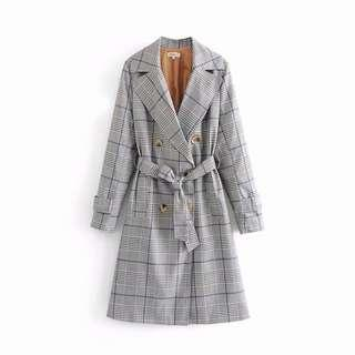 CHECKED TRENCH COAT DRESS