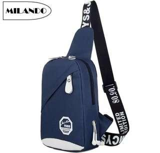 MILANDO Man Men Nylon Crossbody Bag Chest Shoulder Sling Pouch with Earphone Hole Beg Lelaki