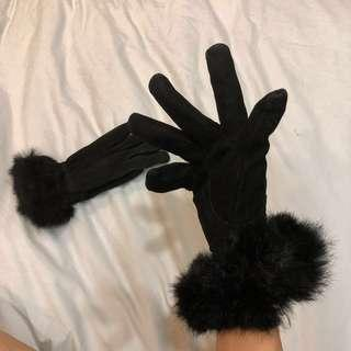 Gloves fur black