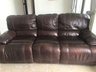 Preloved Genuine Leather Push Button Recliner Sofa