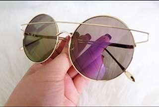 Purple sunglasses / kacamata mirror ungu bulat