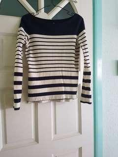 UNIQLO NAVY BLUE & WHITE LONG-SLEEVES STRIPES TOP