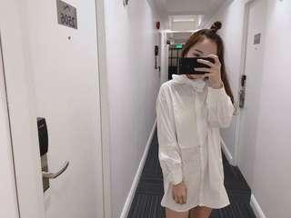 White boyfriend shirt dress top
