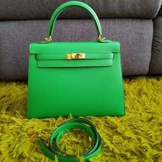 Hermes K25 Sellier Bamboo Green Epsom Ghw Kelly 25
