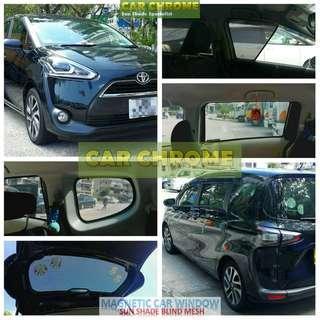 豐田TOYOTA Sienta 170 80 81 85 DICE 專用全車磁石版本窗網 一套7件: 包括: 前窗 x 2、中門 x 2、尾窗 x 2、尾門窗 x 1 (MAGNETIC CAR WINDOW SUN SHADE BLIND MESH)
