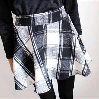🔺BN🔺Woolen Checkered Grid Skater Skirt