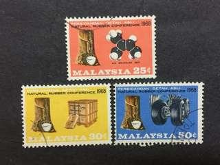 Malaysia 1968 Natural Rubber Conference Complete Set - 3v Used Stamps