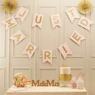 *BNIP* 'JUST MARRIED' BUNTING (Glitter words & pastel pink)