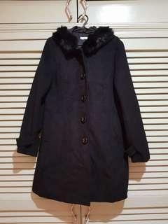 Black Tweed Coat with fur accent
