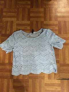 Lace blue blouse