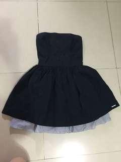 A&F Abercrombie & Fitch 深藍色條紋通花連身裙洋裝