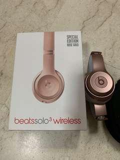 (CHEAP) Used Beats Solo 3 Wireless Rose Gold