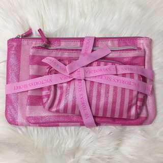 🆕 Authentic Victoria Secret Cosmetic Bag 3 in 1 Set