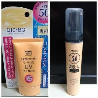 🚚 Q10專科 保濕防曬乳 /mistine 24小時 粉底液 自然色