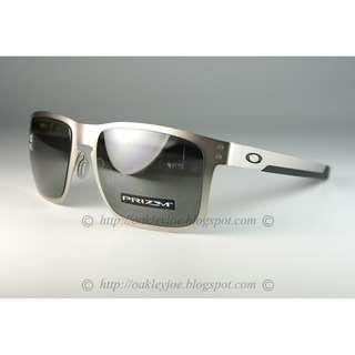 a662477b54 BNIB Oakley Holbrook Metal satin chrome + prizm black polarized OO4123-0955  sunglass shades
