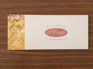 Liquidation Sale - 1996 Monetary Authority of Singapore $25 Commemorative Banknote Nice Numbers 053600 With Chequebook