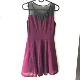 H&M Mesh Skater Dress Purple Wine Maroon