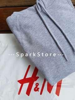 H&M Jaket Hoodie Abu-Abu Muda Dengan Stripe Putih