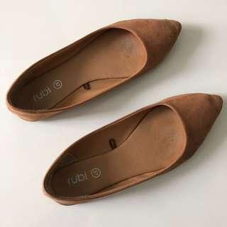 Rubi Brown Suede Flats Size 7