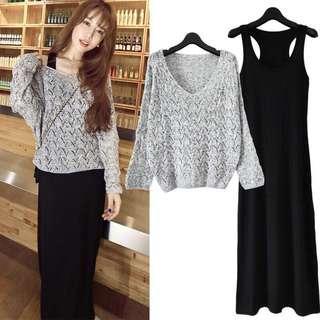 Women knitted blouse and sleeveless dress