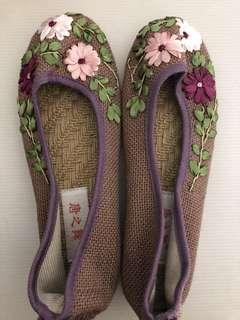 New: Purple Embroidery handmade shoes (size 5-23cm)