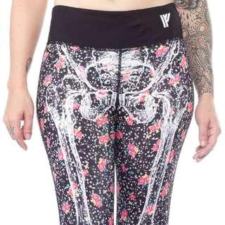 Iron Fist Ditzy Skull Gym Leggings Size M/10
