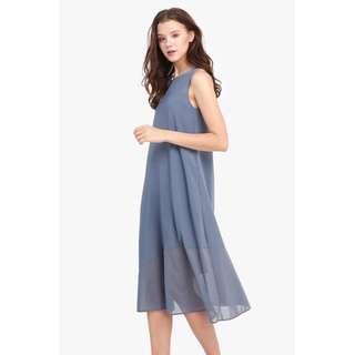 Fayth Ivianna Mesh Midi Dress Ash Blue Size S