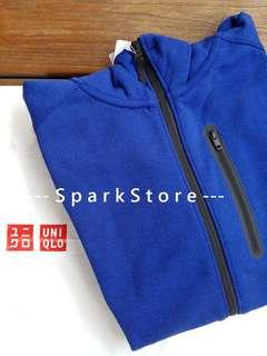 Uniqlo Jaket Hoodie Sweat Dry Stretch Dengan Zipper Biru