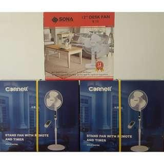 """BUNDLE DEAL - Cornell 16"""" Stand Fan with Remote and Timer CFN-E160TRC / Sona 12"""" Desk Fan S13"""