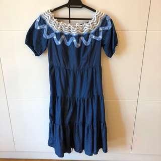 Off Shoulder Dress in denim style