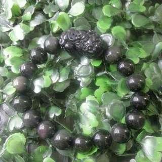 10mm彩虹黑曜石貔貅手串 10mm Rainbow Obsidian Pixiu Bracelet