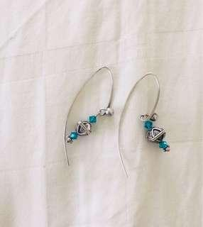 Silver and emerald green stone loop earrings