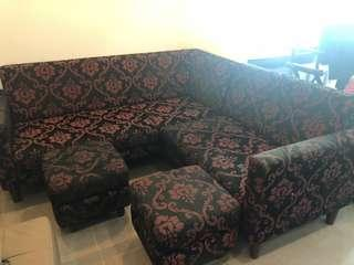 Damask L type sofa