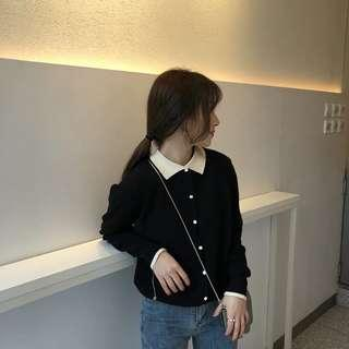 Black button knitted Long sleeve top