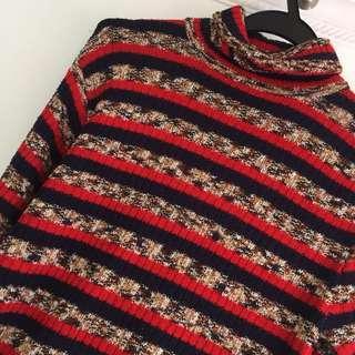 紅黑間條微高領針織上衣 超顯瘦 knitted top 橫紋控