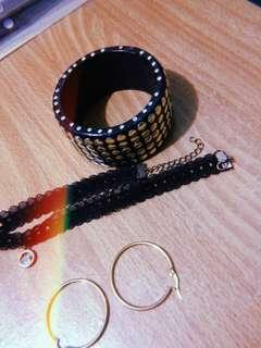 Sale!! Black Lace Choker, Studs Bracelet, & Earrings
