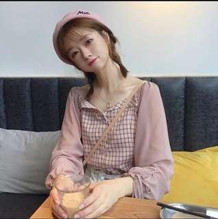 韓版 襯衣 一字肩 學院風 雪紡 寬鬆 格子 拼接 繫帶 燈籠袖 襯衫