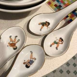 Ping pong bowl soup spoon children kids China vintage antique