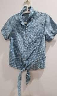 Powder Blue Polka Dotted Shirt