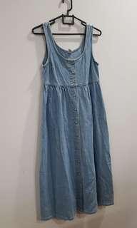 Midi Sleeveless Denim Dress